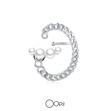 OOPS JEWELRY | Earring | Rock Pearl and Chain Earring | Left Ear