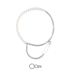 OOPS JEWELRY | Necklace | Rock Pearl and Chain Necklace | White Gold
