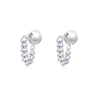 OOPS JEWELRY | Earrings | Rock Pearl 3 in 1 Earrings | White Gold