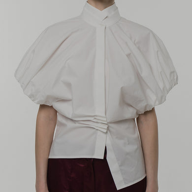 FORME DE FLUIDITÉ | Pleat-detail Asymmetric Cotton Shirt