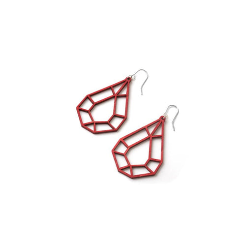 VALONA | 2D BIRCH CRYSTAL EARRINGS, MINI DROP (RED) | 28591