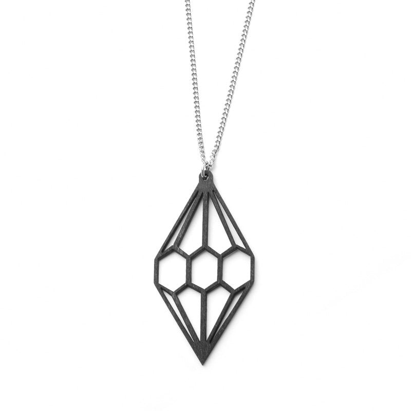 VALONA | 2D Birch Crystal Necklace | Diamond | Black