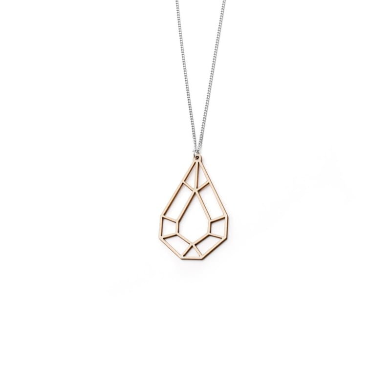VALONA | 2D Birch Crystal Necklaces | Mini Drop | Wood