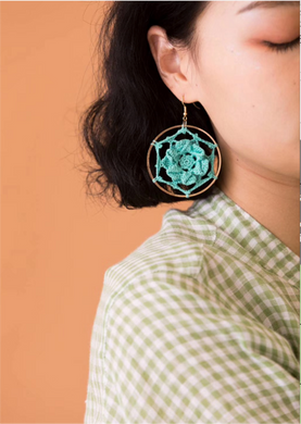 SHOKAY | Floral Series Petal Earrings | Down Blue