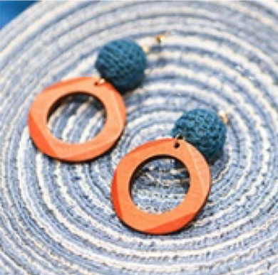 SHOKAY | Earrings | Orange & Blue