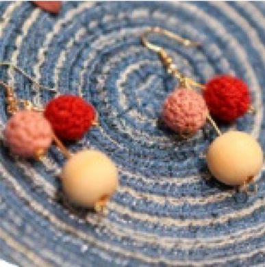 SHOKAY | Earrings | Pink & Red & Wood