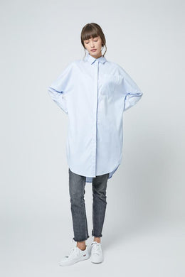 SHOKAY | SHOKAY LAB TRANSITIONAL COTTON OVERSIZED SHIRT DRESS (LIGHT BLUE) | AW-DR-TC_SK