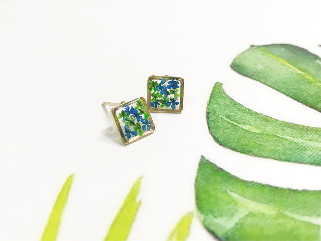 HEI THERE | MINI SQUARE EARRINGS (GREEN, COBALT BLUE) | H279