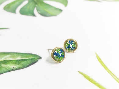 HEI THERE | Mini Circle Earrings | Green, Cobalt Blue