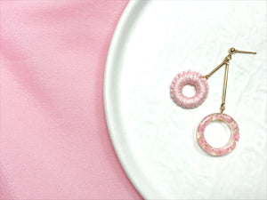 HEI THERE | DOUBLE DONUT EARRINGS (PINK) | H461