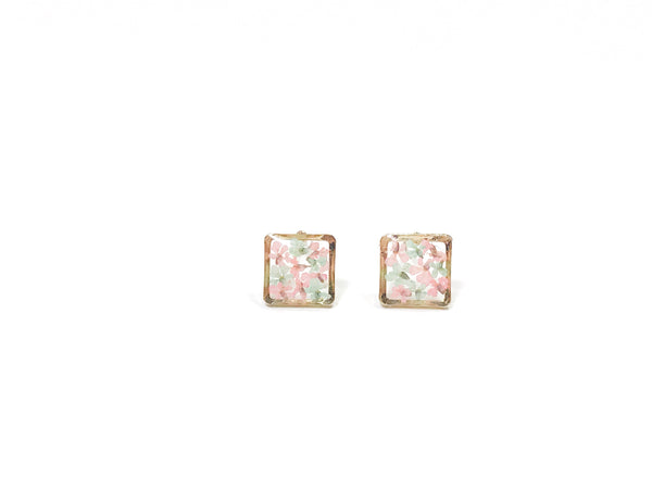 HEI THERE | MINI SQUARE EARRINGS (PINK, TIFFANY BLUE) | H475