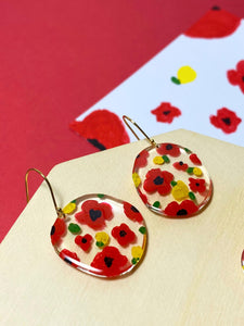 HEI THERE | The Red Flower Hand Paintng Earring