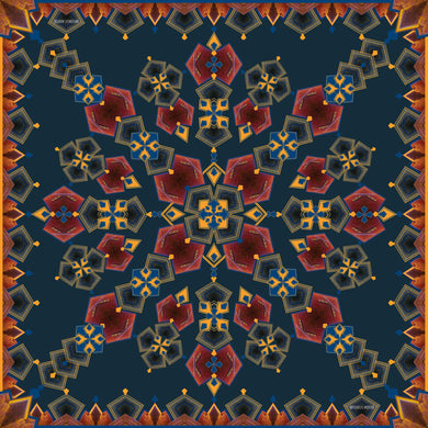 INVISIBILIS MOVERÉ | SILK SCARF LOCATION : TAI KWUN COLOUR : NAVY | IM1901WSV03_90