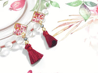 HEI THERE |SMALL SQUARE TASSEL CHERRY RED H302