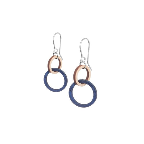 VALONA | HALO EARRINGS, MINI (WOOD+BLUE) | 2974502