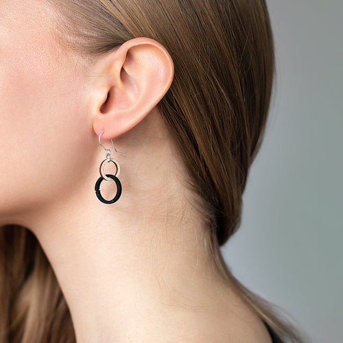 VALONA | HALO EARRINGS, MINI (WOOD+BLACK) | 2794505