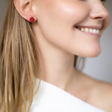 Load image into Gallery viewer, VALONA | Pilke Earrings | Round | Red