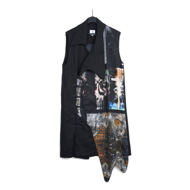 VINCENT LI | Soundwave Prints Sleeveless Coat