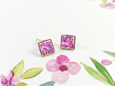 HEI THERE | Mini Square Earrings | Purple , Carmine