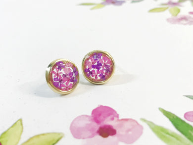 HEI THERE | Mini Circle Earrings | Purple, Carmine
