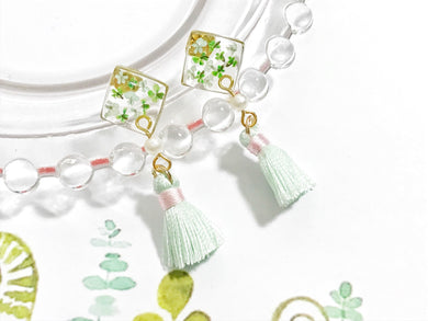 HEI THERE | Small Square Tassel | Light Green