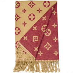 Lou reversible louis vuitton inspired scarf in camel and berry red