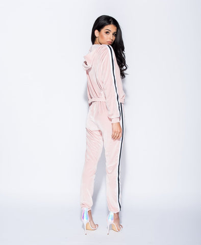 Costella Velvet Side Stripe Hooded Tracksuit