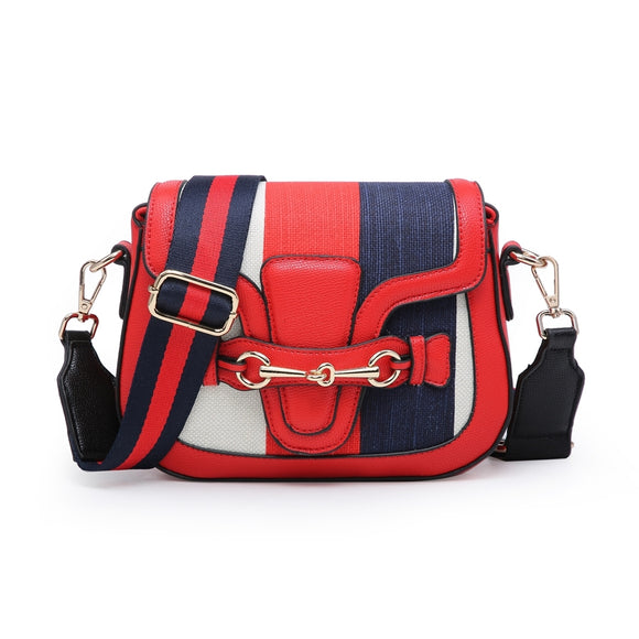 Hallie Horsebit Striped Gucci Inspired Bag - Red