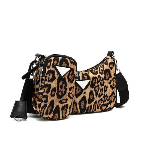 Nadia Nylon Designer Inspired Bag & Pouch Set - Leopard