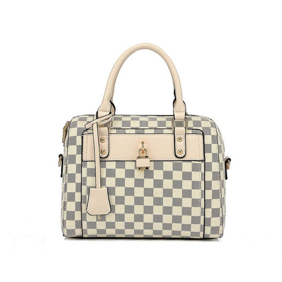 Chrishell Check Designer Inspired Tote Bag - Beige