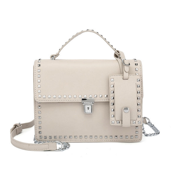 Riley Top Handle Studded Valentino Inspired Bag - Light Grey