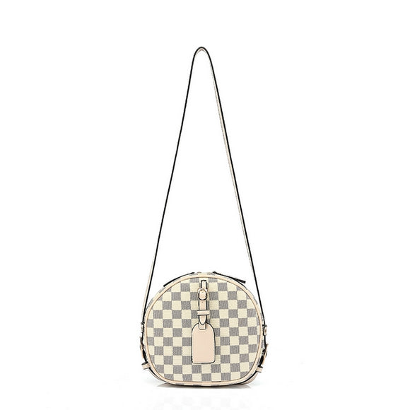 Kyla Round Designer Inspired Bag - Beige Check
