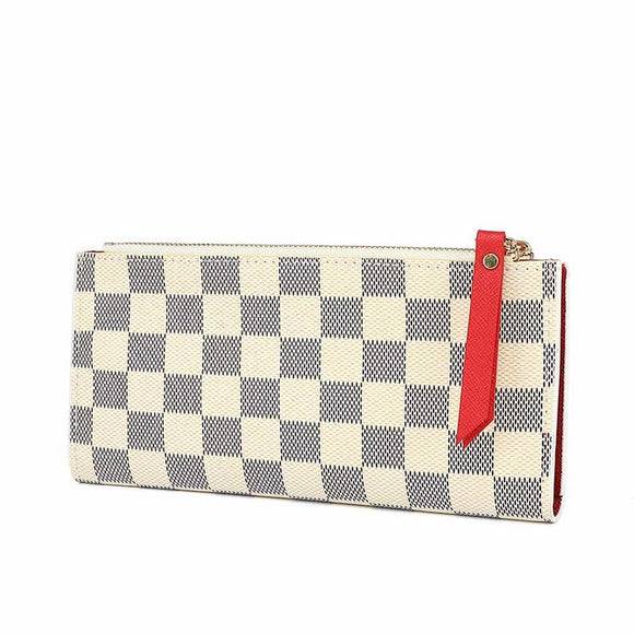 Clemence Louis Vuitton Inspired Purse / Wallet - White Check