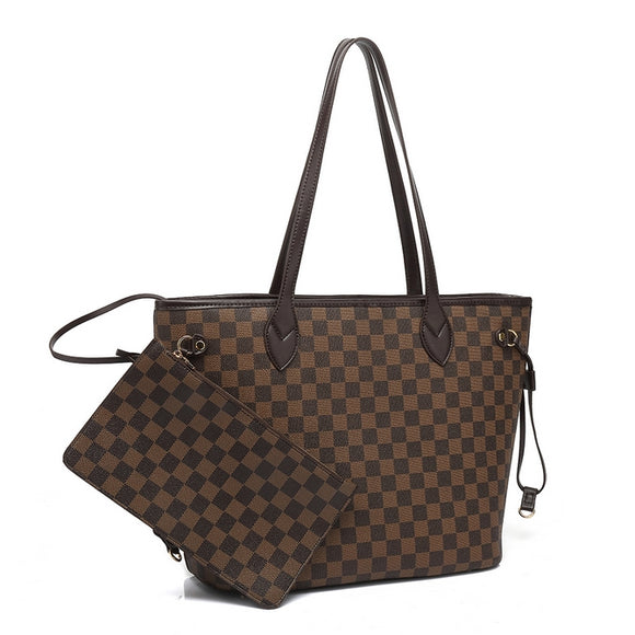 Neverfull Designer Inspired Tote Bag - Brown Check