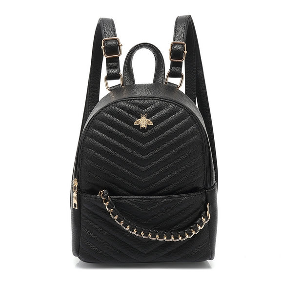 Haisley Bee Gucci Inspired Mini Backpack - Black