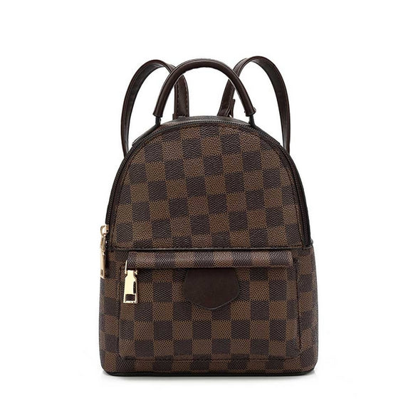 'Quickie' Louis Vuitton Inspired Mini Backpack - Brown Check