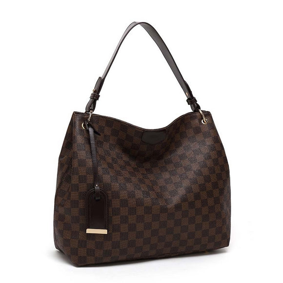Ashleigh Check Louis Vuitton Inspired Bag - Brown