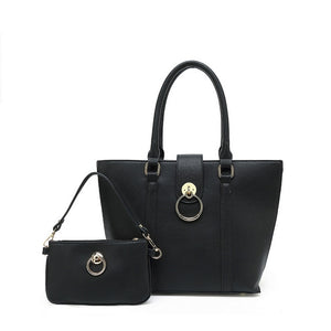 Melinda Designer Inspired Bag and Clutch Set - Black