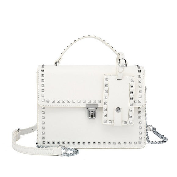 Riley Top Handle Studded Valentino Inspired Bag - White