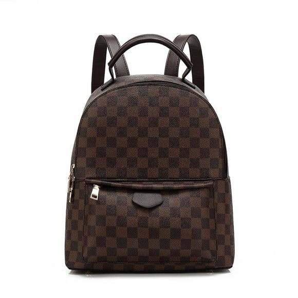 'Essentials' Louis Vuitton Inspired Backpack - Brown Check