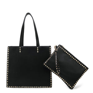 Claire Valentino Inspired Bag and Clutch Set - Black