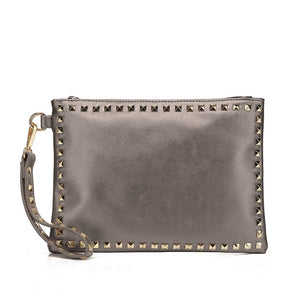 Brianna Studded Valentino Inspired Clutch - Grey