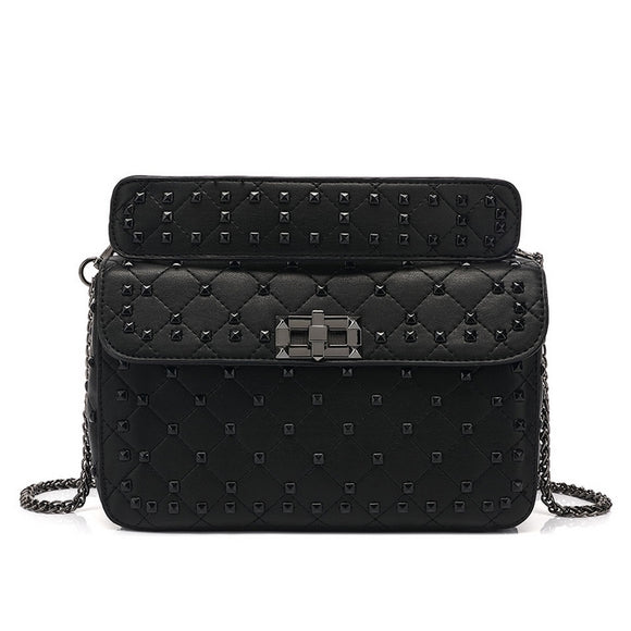 Iris Paint Studded Valentino Inspired Bag - Black