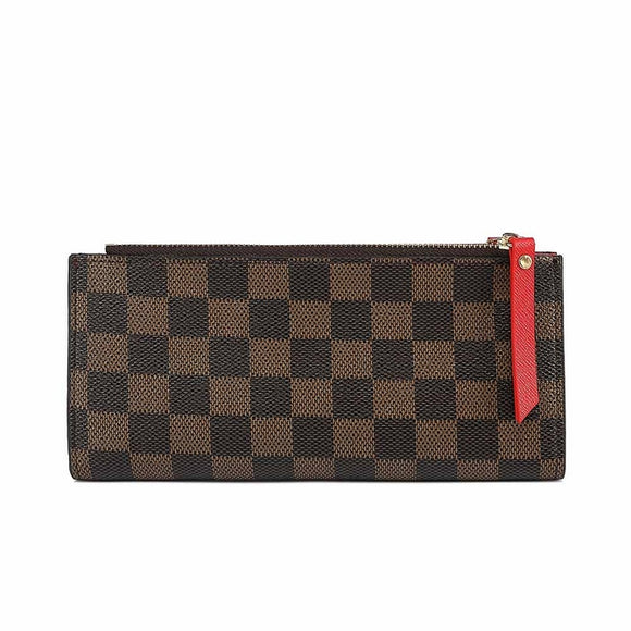 Clemence Designer Inspired Purse / Wallet - Brown Check