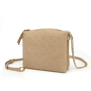 Hayley Monogram Designer Inspired Crossbody Bag - Beige