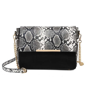 Cambrie Designer Inspired Snake Print Bag - Black