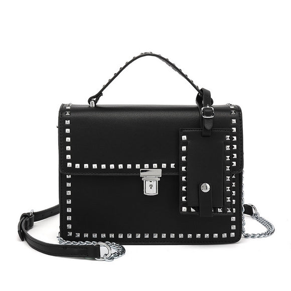 Riley Top Handle Studded Valentino Inspired Bag - Black