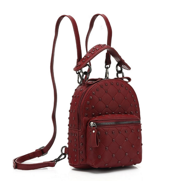 London Studded Valentino Inspired Backpack Mini - Wine