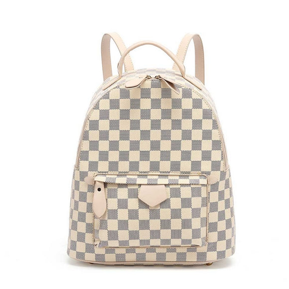 'Essentials' Louis Vuitton Inspired Backpack - Beige Check