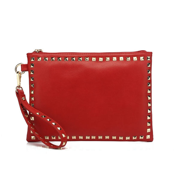 Brianna Studded Valentino Inspired Clutch - Red